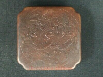 Rare Collected Ancient China Copper Hand-made Mandarin Duck Flowers Jewelry Box