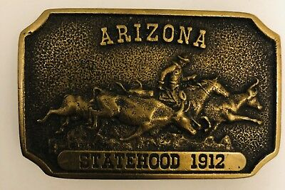 Vintage Arizona Statehood Buckle 1912 Solid Brass
