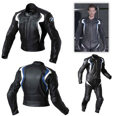BMW Mens Motorcycle Leather Suit Motorbike Racing Leather Jacket Trouser Pant