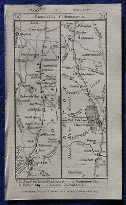Original antique road map DEVON, CORNWALL, EXETER, BODMIN, Paterson, 1785