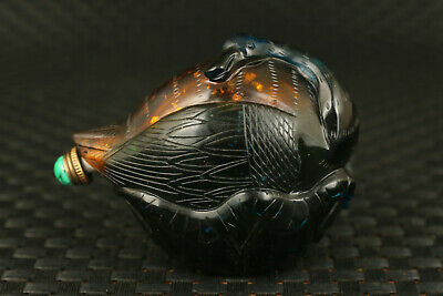 Asian rare glaze Handcarved swan statue snuff bottle collectable noble gift