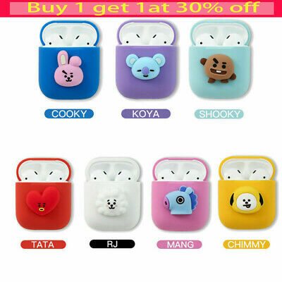BTS BT21 Cartoon Earphone Protective Cover for Apple Airpods Charging Case WC