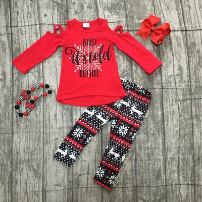 Christmas Kids Baby Girl Clothes Off-Shoulder T-shirt Leggings Pants Xmas Outfit
