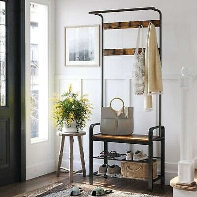Hat and Coat Stand Hall Tree Hallway Shoe Rack Bench with Shelves Hooks HSR40B