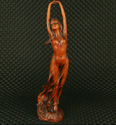 chinese old boxwood hand carved dance belle statue netsuke table decoration