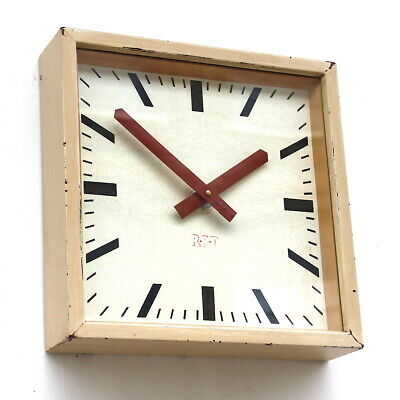 EAST GERMAN 1950s Midcentury Factory Retro Vintage Industrial Wall Clock
