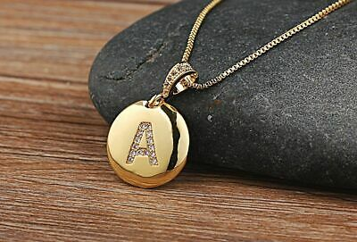 Women Girls Initial Letter Necklace Gold 26 Letters Charm Necklaces Xmas Gift