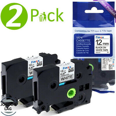 2 Pack 12mm TZe Tape for Brother P-Touch H101TB H101C 1080 1000 Black on White