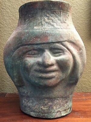 "Rare Pre-columbian Large Moche Silvered Copper Vessel ""Face"", 300-600 AD"