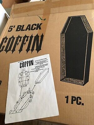 HALLOWEEN 5 FT COFFIN  PROP HAUNTED HOUSE PARTY CEMETARY black