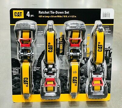 "CAT Ratchet Tie Down Straps Heavy Duty Caterpillar 4 Piece Set Pack 1.5""x16ft"