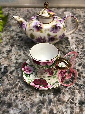 Victoria's Garden Ceramic Cup And Saucer & Teapot Christmas Ornament