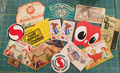 Vintage sewing needle books, lot of 15, grocery, auto, farm, owl, Sewing Susan
