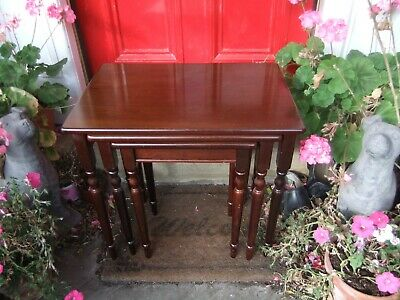 Antique/Vintage Mahogany Dark Wood Nest Of Three Tables Trio Use/Upcycle