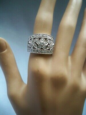 925 Sterling Silver Pave CZ Floral Filigree Wide Band Cocktail Ring Size 8