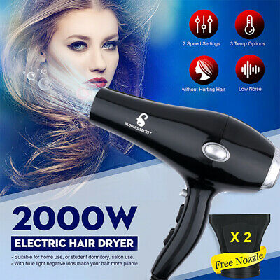 UK 2000W Professional Hair Dryer Hairdressing Salon Styler Low Noise w/ Nozzle