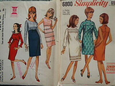 VINTAGE 1960's Sewing PATTERNS: McCALL'S / SIMPLICITY Misses DRESS ** Lot of 2