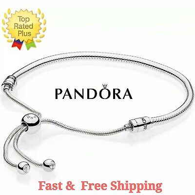 Authentic PANDORA Sterling Silver Adjustable Sliding Snake Chain Bracelet