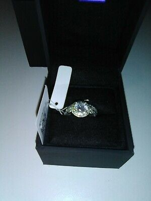 Platinum-Plated Sterling Silver Antique Ring set made with Swarovski Zirc S5