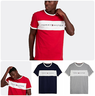 Mens Tommy Hilfiger Crew Neck Ringer Short Sleeve T Shirt All Size Available