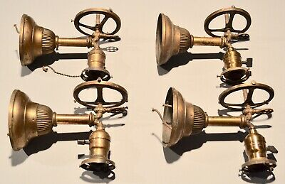 4 Antique B&H Brass Gas & Electric Combination Matching Scones Antique Lighting