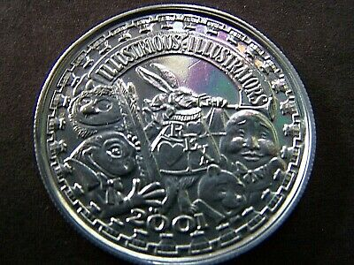2001 Rex ILLUSTRIOUS ILLUSTRATORS Plain Aluminum Mardi Gras Doubloon