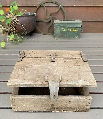 Vintage Hand Made Wooden Storage Box Leather Latch & Hinges
