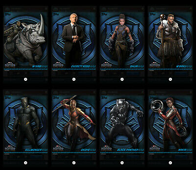 Topps Marvel Collect! Black Panther Box Character Art complete 8-card set digitl