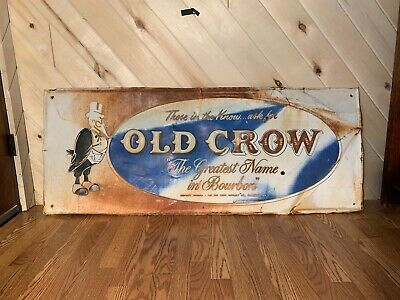 "Antique Old Crow Bourbon Embossed Sign 60"" x 24"""