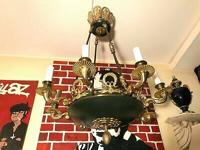 RARE Antique Empire Chandelier  French Brass Gold Bronze Hanging Chain Lamp