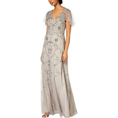 Adrianna Papell Womens Gray Embellished Capelet Evening Dress Gown 10 BHFO 2535