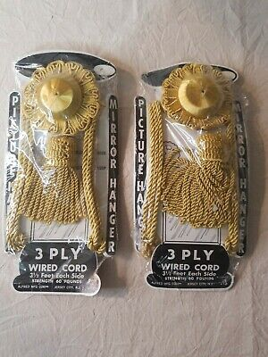 Lot of 2 Vintage Picture/Mirror Hanger GOLD 3 Ply Wired Cord Fringe Tassel NOS