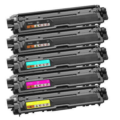 MFC-9330CDW 5Pk TN221 BK TN225 Color Toner For Brother MFC-9130CW MFC-9340CDW