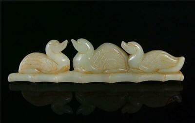 Fine Old Chinese Celadon Nephrite Jade Carved Paperweight Statue GOOSES & BAMBOO