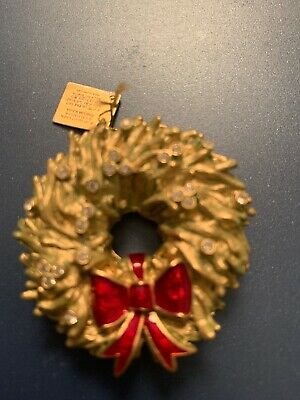 Estee Lauder Solid Perfume Compact Holiday Wreath Full White Linen Jeweled 2006