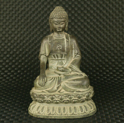 unique China old copper Handcarved blessing Buddha pray statue noble decoration