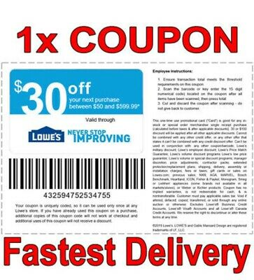 1x Lowes $30 OFF $50 INSTANT FAST DELIVERY-1COUPON INSTORE ONLY