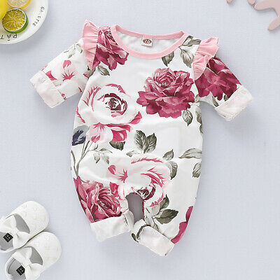 Newborn Infant Baby Girl Cotton Romper Jumpsuit Bodysuit Clothes Outfit Sunsuit