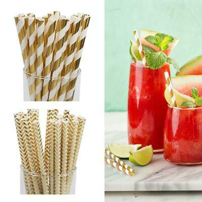 25Pcs Rose Gold Foil Paper Straws - Birthday Wedding Party Decor Table Top G3Z5