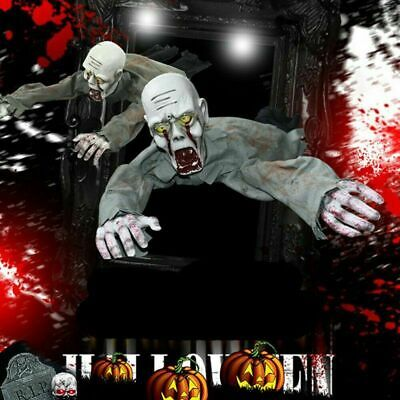 Crawling Zombie Animated Halloween Prop Sound Activated Light up Scary Decor