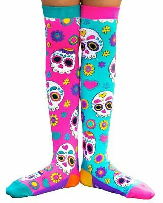 Madmia Colourful Crazy Sugar Skull Socks Kids Adults Pink Blue Hearts Cool Gift
