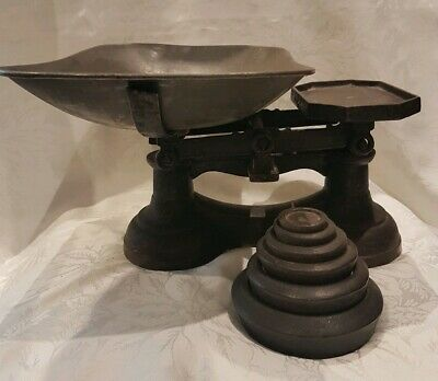 Vintage Cast Iron Scales With Weights Antique Collectable Kitchen Ware