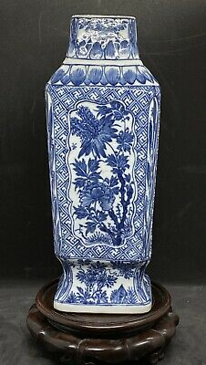 Very Fine Antique Chinese Kangxi Four Seasons Blossom Blue And White Square Vase