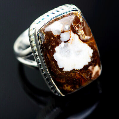 Large Peanut Wood Jasper 925 Sterling Silver Ring Size 6.25 Jewelry R972044F