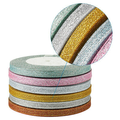 """6 Rolls Sparkle Satin Ribbons Metallic Trims Gift Packing Party Favours 1/4"""" 6mm"""