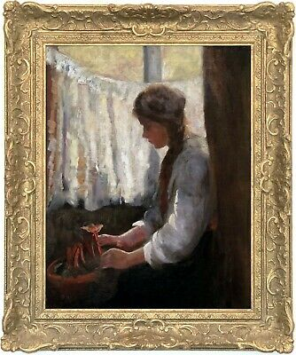 A Girl Planting Rhubarb Antique Oil Painting 19th Century English School
