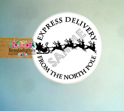 Santa Express Stickers - From the North Pole - Christmas Stickers - 24 per sheet