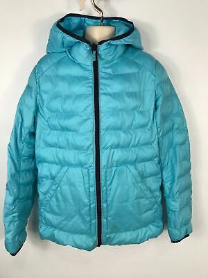 Girls Uniqlo Sky Blue Very Light Weight  Padded Coat Jacket Casual Hood Age 11
