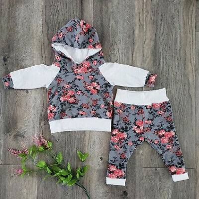 Newborn Infant Baby Girls Floral Clothes Hood Top Pants Tracksuit Autumn Outfit