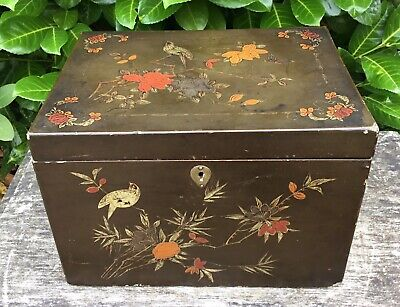 Old Vintage Antique Large Chinese Lacquer Box Birds Insects Floral Hand Painted